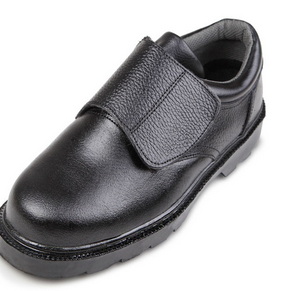 2015 Best price velcro Black steel toe action Buffalo leather safety shoes