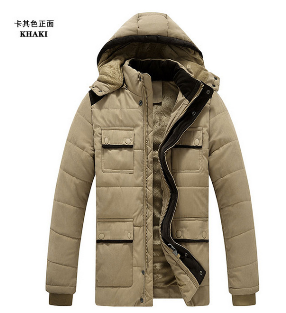 Men's size coat hat cotton padded jacket with thickened