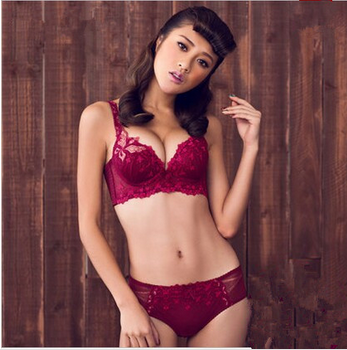 Fashion Women Embroidery Push-up Bra Suit