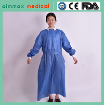 Medical Women SMS Long Sleeves Knitted Cuffs Sterile Surgical Gown