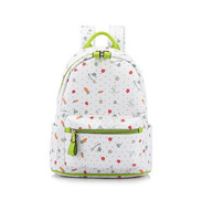 2015 Fashion style flower picture bag canvas material high school backpack for girls