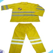 yellow breathable 100% cotton sepatated coveralls with reflective safety tapes
