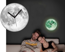 home decor glow in the dark moon wall clock