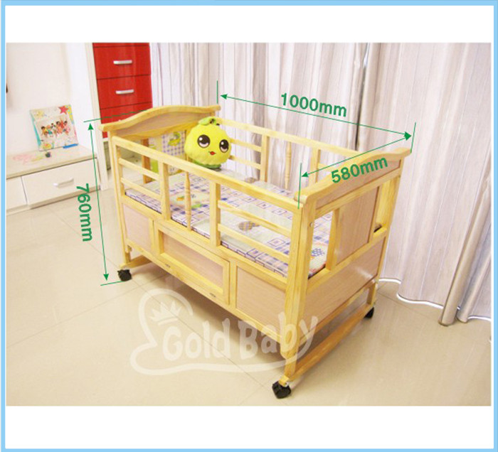 solid wood infant crib with wheels
