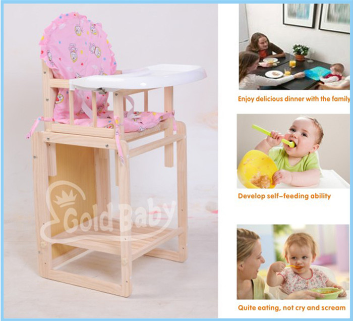 Cube Wooden Baby / Toddler Feeding Highchair-Natural