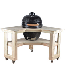 Mobile ceramic charcoal smoker kamado grill cart