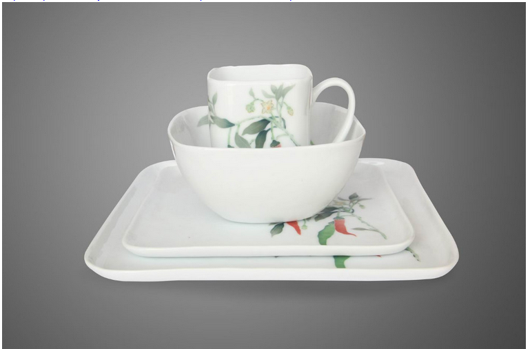 16pcs Super white Royal Ceramics modern square dinner set fine porcelain dinner set