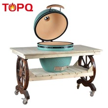 China mobile ceramic barbecue bbq grill cart kamado
