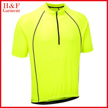 High Visibility yellow mens sprint cycling jersey shirt custom printing logo