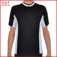 Man cycling shirt with back pockets black and white cycling uniform