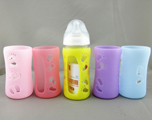 circle and star design sleeve 240ml wide neck Borosilicate glass baby bottle with silicone sleeve