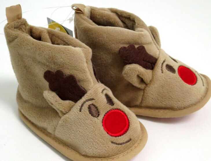 Winter Xmas Elk Deer Style polar Fleece Baby Shoes