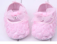 Baby Girl Pink Rosette Pre Walker Ballet Shoe