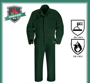 Dark green flame resistant coverall