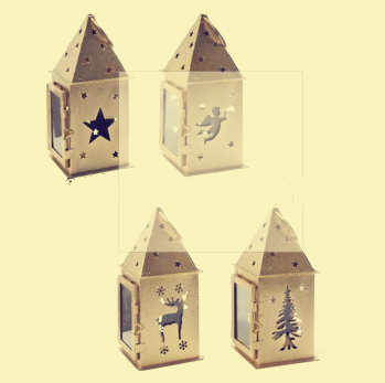 Christmas golden metal lantern