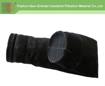 NOF Supplier Black woven Fiberglass dust filter bag with treatment graphit
