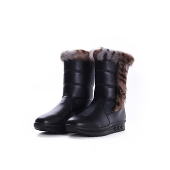 2015 PU+Fake fur snow boots