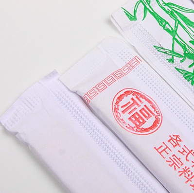 Bamboo chopsticks packed in full-closed paper sleeve
