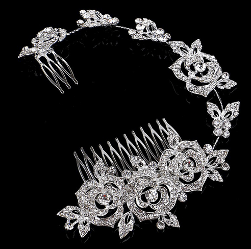 New Rhinestone Princess Wedding Tiara Austrian Crystal Rose Flower Bridal Long Handmade Hair Comb Accessories
