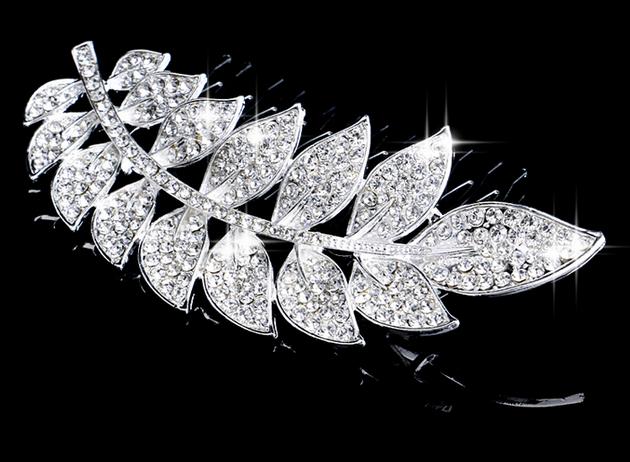 Hot Selling Rhinestone Handmade Leaf Shape Hair Combs Tiara Costume Jewelry