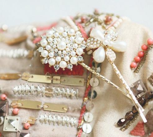 2015 New Design Fashion Hair Accessories Pearl Flower Round Hair clip