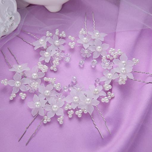 Fashion Hot Selling Handmade Flower Wedding Jewelry Crystal Imitation Pearl Bridal Hair Sticks