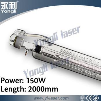 2000mm 150w co2 glass tube for cutting with CE certificate