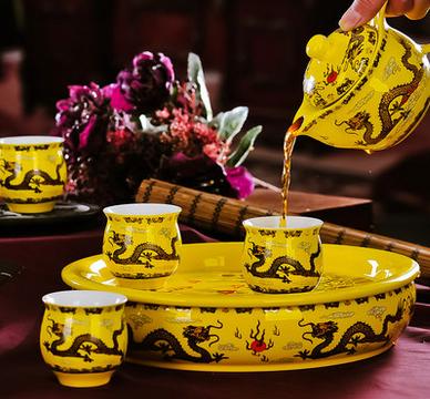 wholesale teapot chinese china dragon promotional gift tea set ceramic tea set
