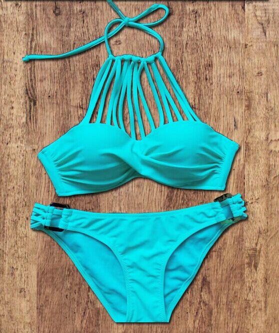 Lake Blue Full Size S M L fringe bikini with straps sexy girls fringe bikini