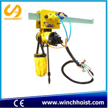 1 ton air chain hoist with single chain and air trolley for chemical industry