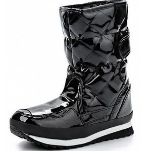 Ladies Winter Boots Black Shining PU Quilting Snow Boots