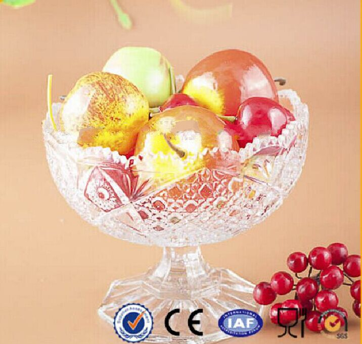 New Design Break-Resistant Round Crystal Glass Fruit Bowl