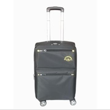 Hidden handle four wheels with button and two pockets trolley luggage