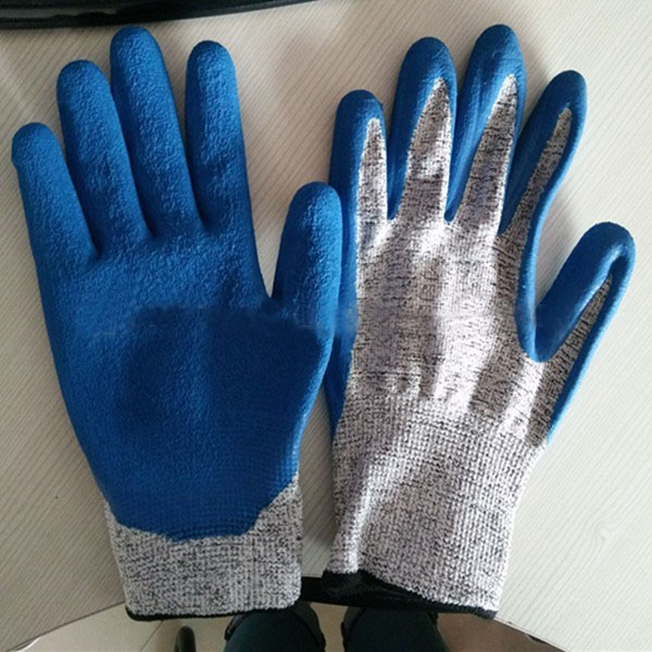 HPPE liner latex coated cut resistant gloves level 5