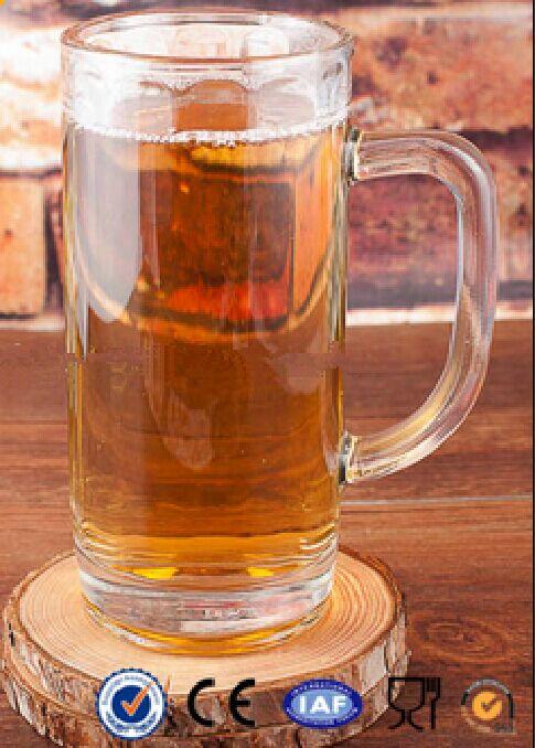 Clear Glass Beer Mug With Handle 376ml