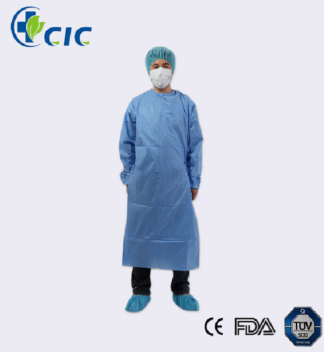 Medical SMS Long Sleeves Knitted Cuffs A Velcro on Neck Back and Ties on Waist Surgical Gown