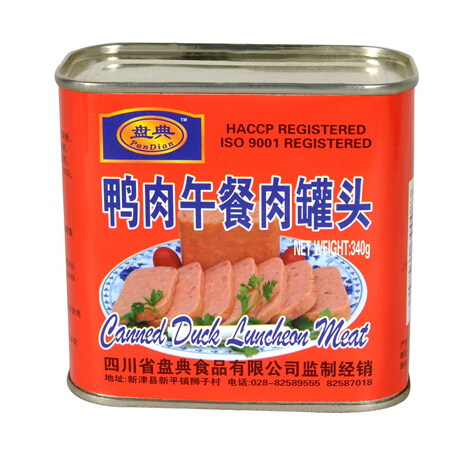340g Canned Duck Luncheon Meat,Good taste canned luncheon meat