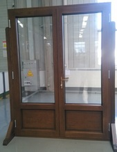 white oak wood aluminum clad high efficient Baka hinged double glass door with lock