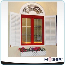 Aluminum clad wood arched grill double sashes opening inward louver window