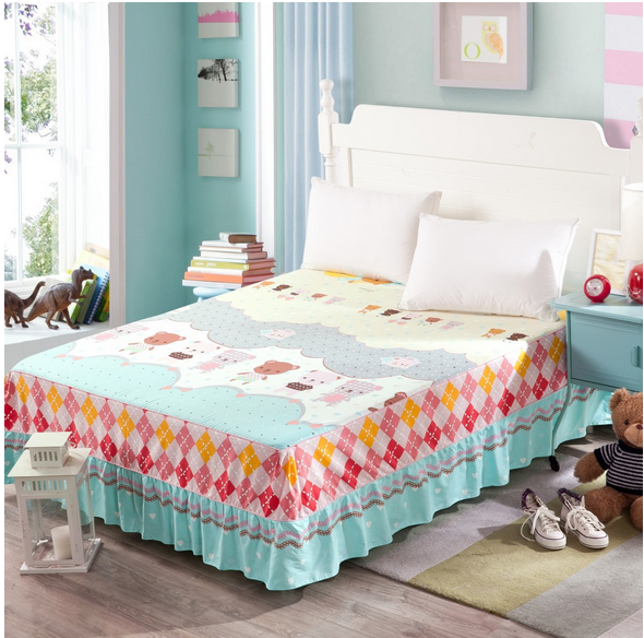 2015 new bedding wholesale fitted bed skirt set cotton bed skirt set bedding set