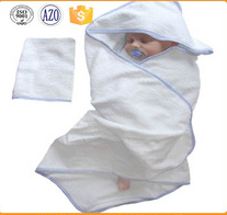 23*51inch zero twist embroidery logo cotton hooded baby bath towel