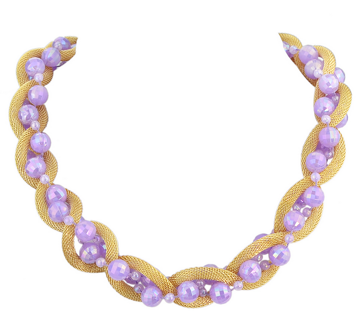 Hot Sale Gold Plated Chain Beads Braided Colalr Necklace