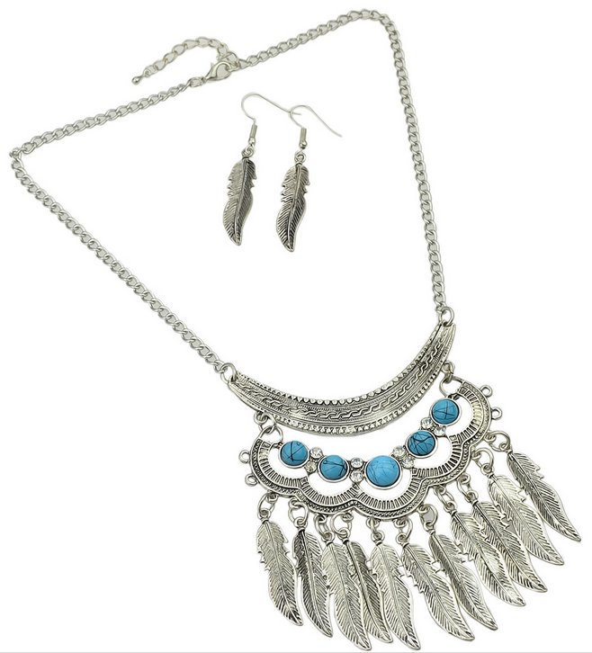 Fashionable Antique Trible Style Hanging Leaf Necklace Earrings Indian Jewelry Set
