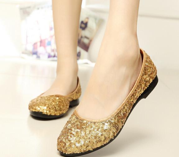 Blue or golden light color sequin women shoes