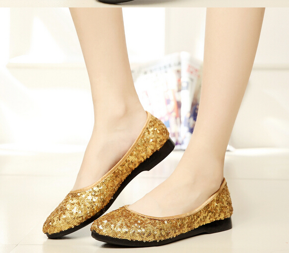 Blue or golden light color sequin women shoes