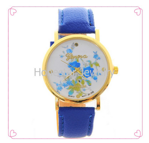 HONESRAR China Supplier Geneva Leather Watch In Golden Watch