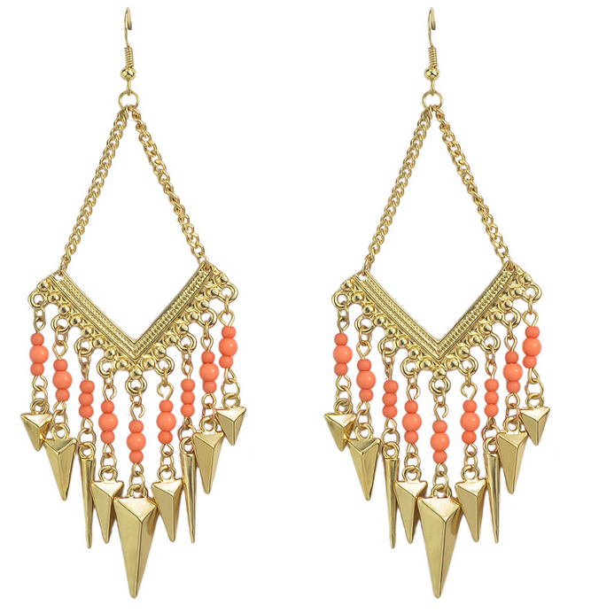 Chandelier Style Gold Plated Spike Colorful Beads Earrings
