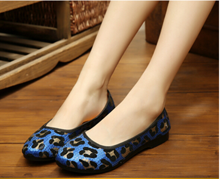 women's korean style Sequins slip on flat casual shoes