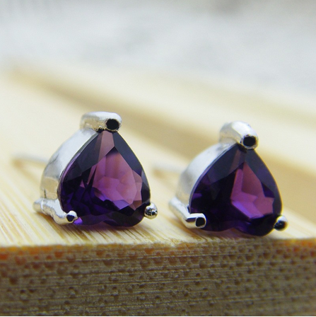 Guaranteed 100% 925 silver With Natural Amethyst Earrings_Romantic Heart SA0001E