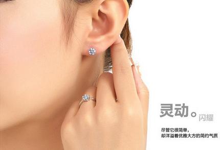 Guaranteed 100% 925 silver With Zircon Earrings_Simple Love CZ0001E